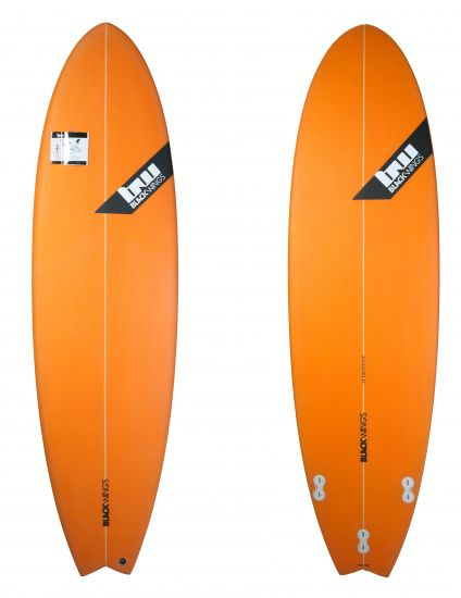 BlackWings 6'4 FISH PIRANHA color ORANGE LOGO NOIR